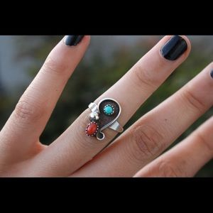 Jewelry - Sterling silver Turquoise and coral ring size 7